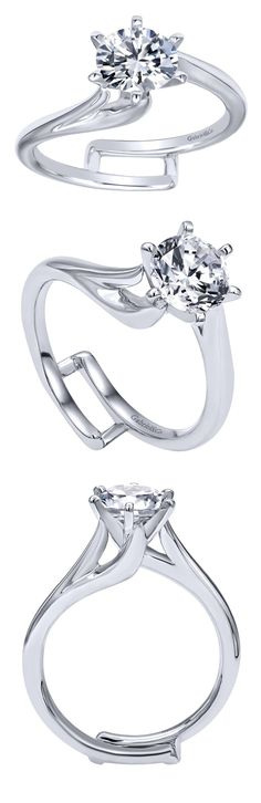 Gabriel & Co. - An intricate 14k White Gold Contemporary Bypass engagement…