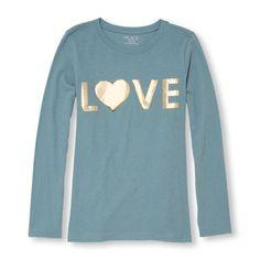Girls Long Sleeve 'LOVE' Foil Graphic Tee