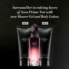 Prima Noir 3-Piece Set    Strong. Mysterious. Graceful.  Prima Noir is inspired by the strength and alluring mystique of a prima ballerina with a bold enigmatic edge. This nighttime scent is an indulgent expression of warm, feminine notes for the woman who isn't afraid to let her hair down.   Includes:  Avon Prima Noir Body Lotion  Avon Prima Noir Shower Get  ALL 3 FOR $30 violet #fragrance #prima #vanilla #jasmine #woman