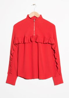 & Other Stories image 2 of Frill Zip Blouse in Red