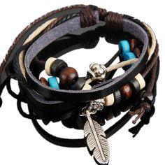 Hot Retro Style Feather Pendant Girl Lady Braid Charm Bracelet String Band Bangle Beads