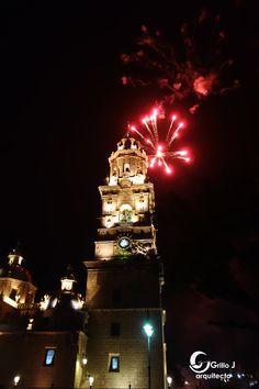 Catedral de Morelia, fuegos artificiales
