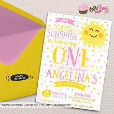 You are my Sunshine Birthday invitation DIY Summer printable invite Sunshine first Birthday Invitation watercolors