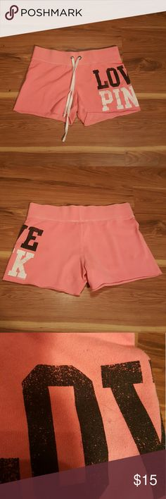 Cute VS shorts XSMALL Hardly worn XSMALL VS shorts in pink. 3rd picture shows a black mark rubbed off from the ink from fabric. Hardly noticeable.....comment below if you have any questions. Victoria's Secret Shorts