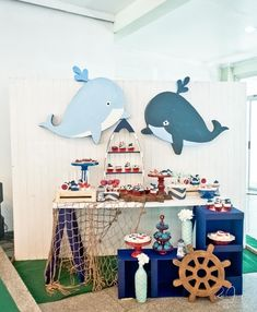 Freyden's little blue whale themed party - sweets nautical themed party in Baby Shower Deco, Shower Bebe, Boy Baby Shower Themes, Baby Shower Parties, Baby Boy Shower, Baby Shower Nautical, Whale Birthday Parties, Boys First Birthday Party Ideas, Theme Bapteme