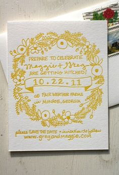 Love this yellow wedding save the date card! Stationery Design, Invitation Design, Invitation Cards, Party Invitations, Letterpress Invitations, Invitation Ideas, Invites, Yellow Wedding Invitations, Wedding Stationary
