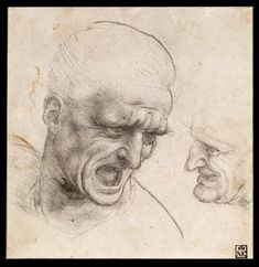 Study of Two Warriors' Heads for the Battle of Anghiari - Google Arts & Culture