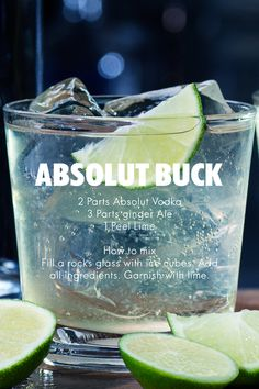 Cocktail Recipes. Absolut Buck: 2 Parts Absolut Vodka; 3 Parts Ginger Ale; 1 Peel Lime. How to mix: Fill a rocks glass with ice cubes. Add all ingredients. Garnish with lime. #AbsolutDrinks #Cocktail #Recipe