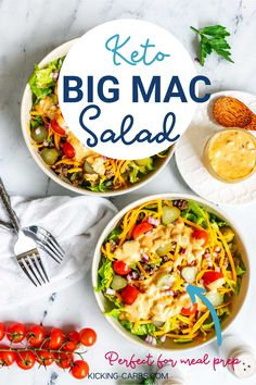For the flavors of the much-loved fast-food favorite, give this Keto Big Mac Salad a try! It is a crowd-pleasing and filling salad that everyone loves. The star is the zippy dressing, which will have you turning to this easy weeknight meal again and again. Healthy Salad Recipes, Lunch Recipes, Keto Recipes, Dinner Recipes, Gluten Free Recipes, Low Carb Summer Recipes, Mac Salad Recipe, Big Mac Salad, Low Carb Vegetables