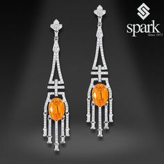 Happy #January everyone! The #birthstone for the month of January is #garnet! While the principle color and shade of a garnet is deep red, garnets range in many different colors. This week we have a lovely pair of #spessartite garnet and #diamond #earrings to share with you, which features an intense orange hue like a fire.