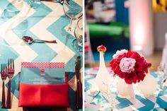 Hot Pink and Blue Chevron Torpedo Factory Wedding | Real Weddings  by Purple Onion Catering Co | Washingtonian Bride & Groom