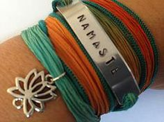 Yoga Jewelry Namaste Silk Inspirational Wrap Bracelet - Hand Stamped  $30.00