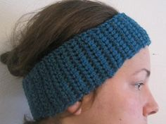 basic earwarmer headband--free pattern--good way for a beginner crocheter to practice and get something practical. Use a varigated yarn for a pop of color or try in holiday colors for a festive touch!
