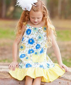 Yellow Gingham Daisy Angel-Sleeve Dress - Infant, Toddler & Girls by Ruby and Rosie #zulily #zulilyfinds