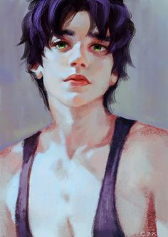 1boy blue_hair czx green_eyes jojo_no_kimyou_na_bouken jonathan_joestar lips realistic solo