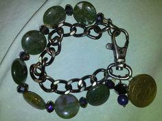 Moss green stone bracelet with pegasus coin by DarlenePayton