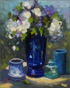 Morning Blues , 16x20, oil on canvas, blue, hydrangeas, blue florals, Maryanne Jacobsen art, impressionist florals, outdoor florals, blue bottles, blue flowers, painting by artist Maryanne Jacobsen
