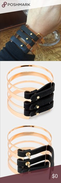 """Edgy Bracelet by Farah Jewelry Edgy bracelet by Farah Jewelry.  So cute!!!  Metal alloy-lead compliant.  Color:  black, gold.  Size:  2"""" H, 2.5"""" D.  Retails for $26.  Will be priced at $18.   TOP RATED SELLER  FAST SHIPPER  Farah Jewelry Jewelry Bracelets"""