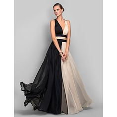 A-line/Princess V-neck Floor-length Chiffon Refined Evening Dress – USD $ 89.99