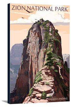 Canvas (Zion National Park, Utah - Angels Landing & Condors - Lantern Press Artwork)