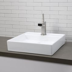 Amazon.com: Decolav 1464-CWH Classically Redefined Low Profile Square Above Counter Lavatory Sink, White: Home Improvement