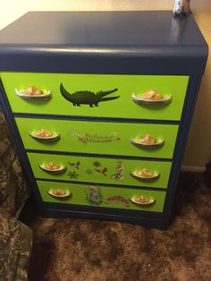 Art Deco dresser repainted and After baby decorations added
