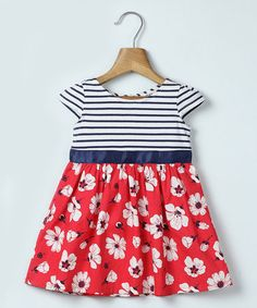 Look what I found on #zulily! Blue Stripe & Red Floral A-Line Dress - Infant, Toddler & Girls #zulilyfinds