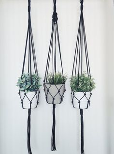 Simple plant hanger handmade with quality nylon cord, the perfect addition to any space in your home. Fits a variety of size and shape pots up to 8.5 in diameter. Price is for 1 plant hanger. Measurements: 1st hanger- 45 long 2nd hanger- 45 long 3rd hanger- 45 long *Note that the 1st