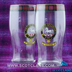 Cochrane Clan Crest Pint Glasses