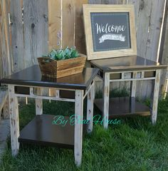 Pair of distressed side tables @tealhousecreative