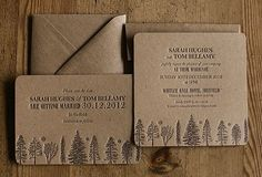 Brown recycled paper wedding invitation