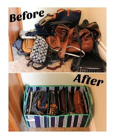 Before and After for purse organization