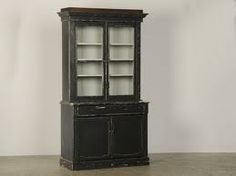 An unusual painted mahogany bibliotheque/display cabinet from the Belle Epoque period in France c. Black Display Cabinet, Low Cabinet, Mahogany Bookcase, Modern Bookcase, Wall Exterior, Exterior Doors, The Belle Epoque, Shop Fittings, Slat Wall