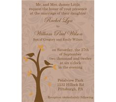 Fall Wedding Invitation Set Tree and Birds Fall by CowPrintDesigns, $30.00
