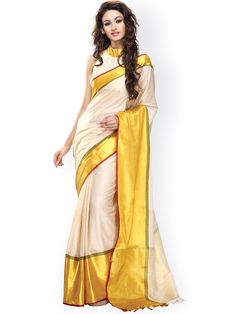 Buy Ishin Off White Cotton Traditional Saree - 545 - Apparel for Women - 902395
