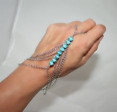 turquoise and chain slave bracelet