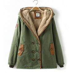 Stylish Fur Hooded Leather Splicing Zipper Pockets Double-Breasted Plus Size Long Sleeve Design Women's Coat, ARMY GREEN, L in Jackets & Coats | DressLily.com