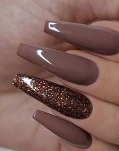 77 Trendy Brown Nail Art Designs and Ideas - Nail Polish Brown Nail Art, Brown Nail Polish, Nail Polish Colors, Pink Polish, Pink Nails, Glitter Nails, Gel Nails, Coffin Nails, Purple Nail