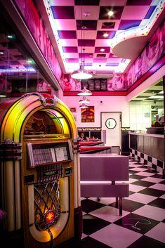Rituals Diner by Jonathan Philip / Diner Aesthetic, Neon Aesthetic, Aesthetic Collage, Aesthetic Vintage, Bedroom Wall Collage, Photo Wall Collage, Picture Wall, 1950 Diner, Vintage Diner