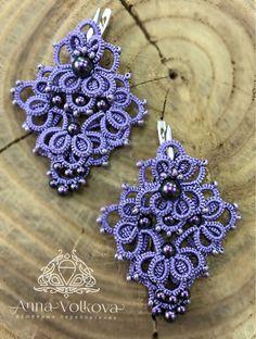 Tatting Jewelry, Thread Jewellery, Hand Embroidery, Crochet Earrings, Beads, Diamond, Bracelets, Crafts, Craft Ideas