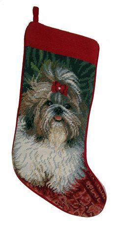 """Shih Tzu Dog Christmas Needlepoint Stocking - 11"""" x 18"""""""