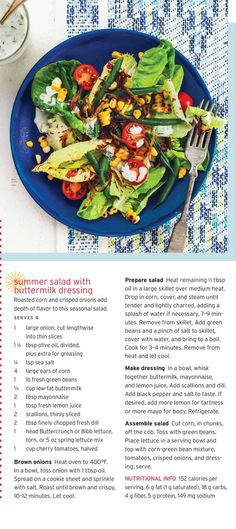 Healthy #Recipe: #Summer #Salad with buttermilk dressing.