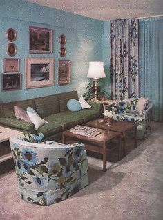 I think this is how my living room was built to be set up. 1960s Living Room, Mid Century Living Room, Mid Century Decor, 1960s Interior, Mid-century Interior, Sala Vintage, Vintage Room, 1960s Home Decor, Vintage Home Decor