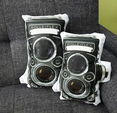 Vintage Rolleiflex Camera Pillow