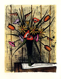 Buffet Bernard : Lithographie signée : Anémones et tulipes