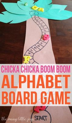 Chicka Chicka Boom Boom Alphabet Game - The Many Little Joys - - This alphabet skills game is perfect for preschoolers and is a great extension activity to go along with the beloved book, Chicka Chicka Boom Boom. Preschool Letters, Learning Letters, Kindergarten Literacy, Early Literacy, Preschool Classroom, Preschool Learning, Preschool Activities, Alphabet Activities For Preschoolers, Alphabet Games For Kindergarten