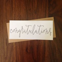 Hand Lettered Congratulations Note Card Long: 8.5 by RoseAndTwig