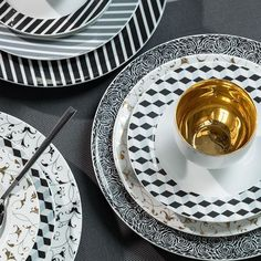 Black and White and 24k Gold Accents with a very Modern look. Perfect for the young professionals of today I think. Dinner Plate Black Diamond Pattern Mix-N-Match – Gifts by Kasia