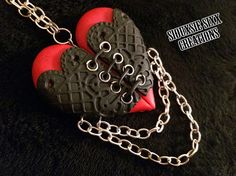 Corset Heart Pendant with Chains made of by SiouxsieSixxCreation