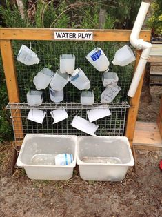 The emphasis of using recycled materials such as these milk bottles is key in the Reggio Emilia approach. Using recycled materials provides children and teachers to discuss sustainability and the environment. Outdoor Learning Spaces, Outdoor Play Areas, Outdoor Games, Preschool Garden, Sensory Garden, Preschool Playground, Natural Playground, Outdoor Playground, Plastic Playground